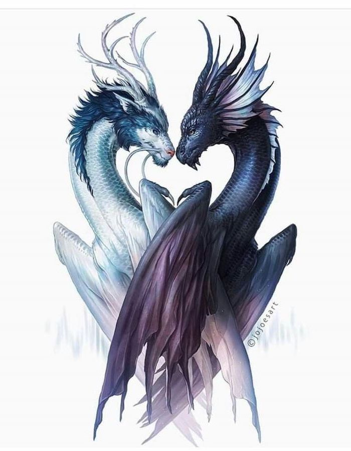 two dragons looking at each other, colored sketch, dragon forearm tattoo, white background