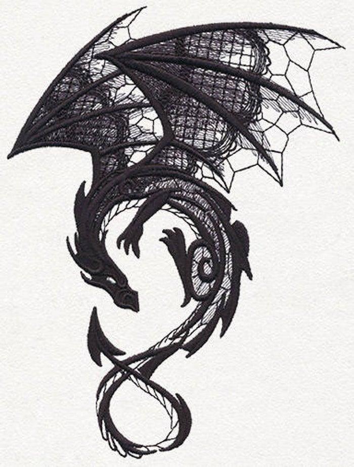black dragon, black and white pencil sketch, dragon forearm tattoo, white background