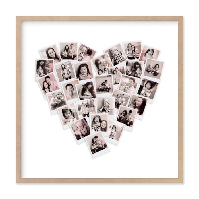 wooden frame with lots of photos in it, arranged in the shape of a heart on white background, meaningful gifts for mom