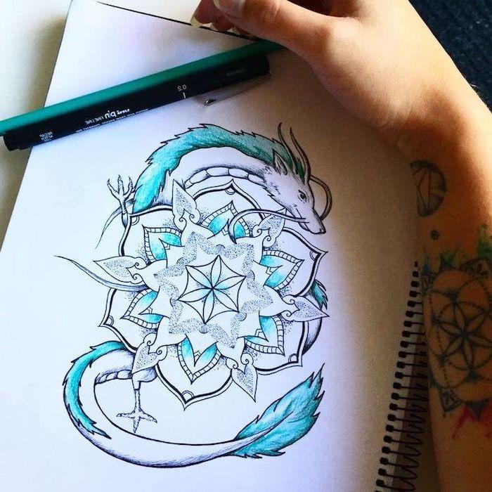 mandala dragon tattoo in blue and white, pencil sketch, dragon tattoo design, white background