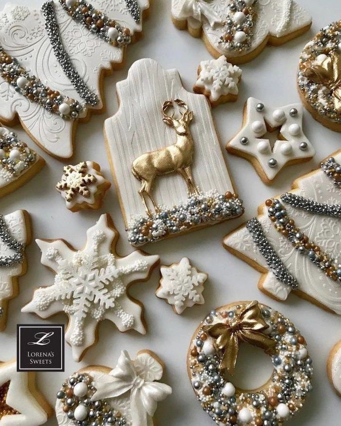 cookies in different shapes, royal icing recipe for sugar cookies, decorated with fondant and icing, in grey white and gold