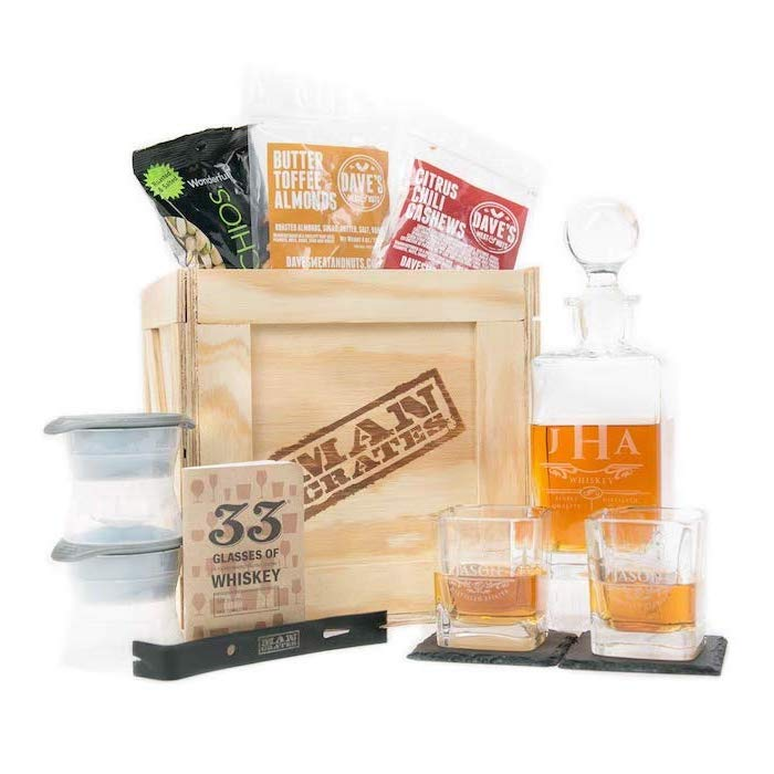 what to get my boyfriend for christmas, wooden crate filled with different nuts, whiskey glasses and decanter