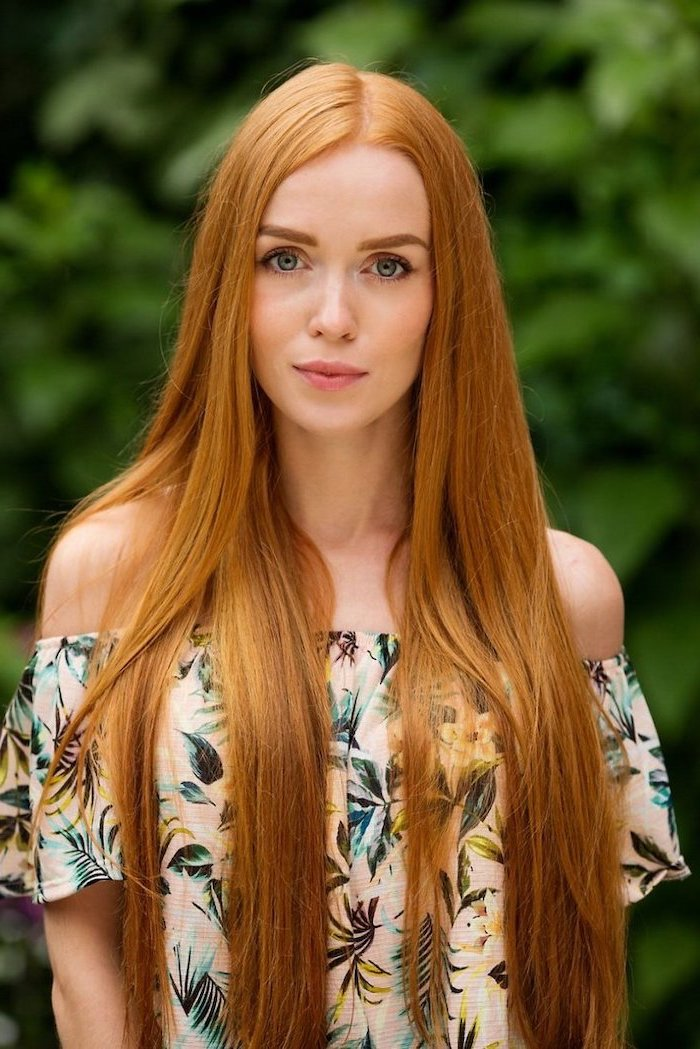 auburn natural long straight hair, 2020 hair color trends for brunettes, woman wearing a floral top with bare shoulders