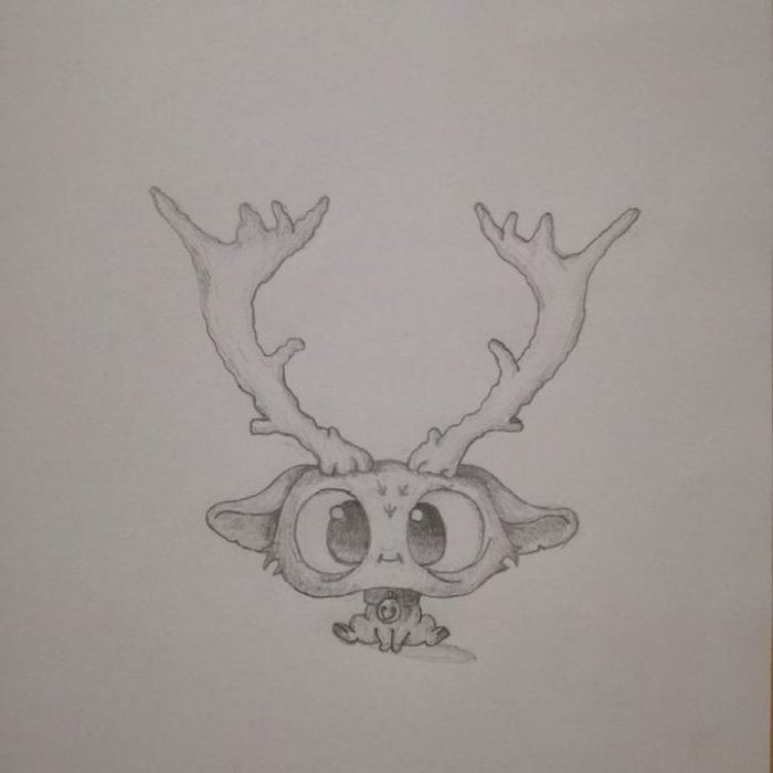 baby deer cartoon with large eyes, easy drawings for kids, large horns, black and white pencil sketch on white background