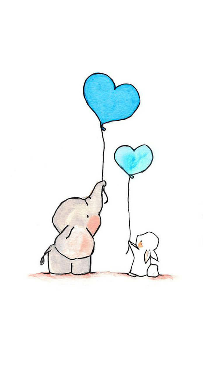 baby elephant and rabbit, holding two blue heart shaped balloons, cute easy drawings, colored drawing with white background