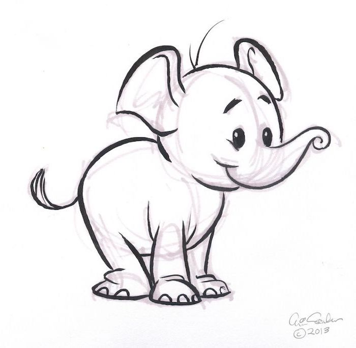 baby elephant, black and white pencil sketch, white background, easy drawings for kids