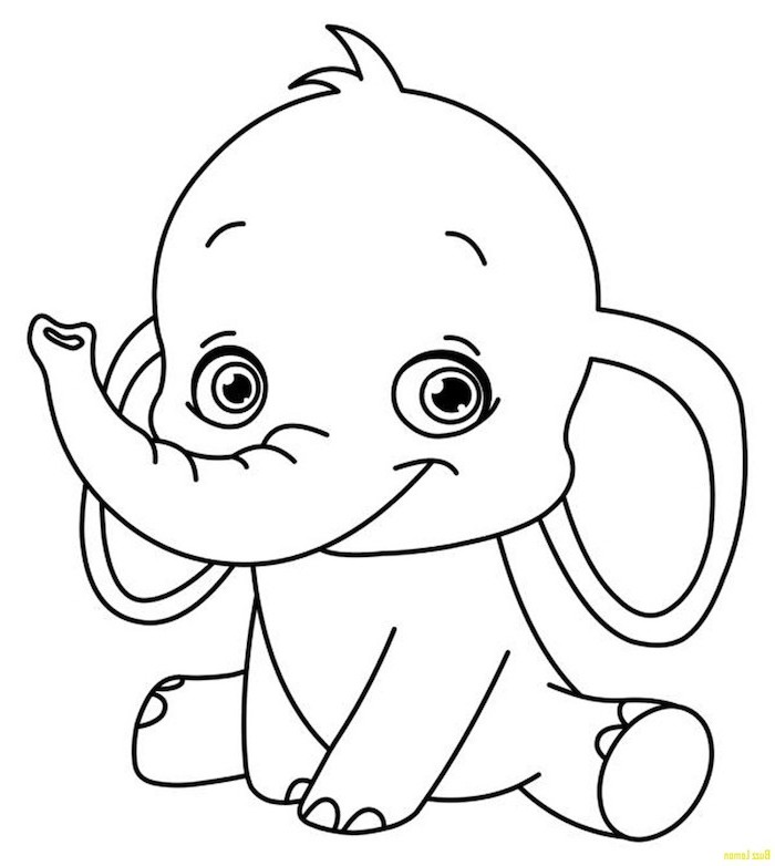baby elephant dumbo, black and white drawing on white background, cute easy drawings, pencil sketch