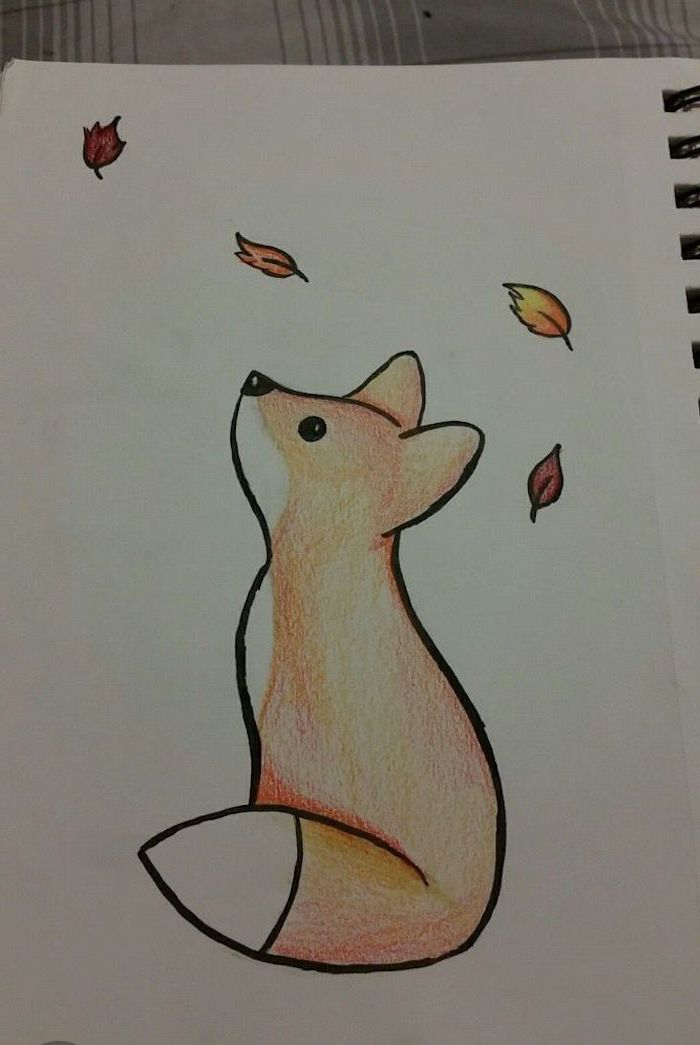 baby fox looking up at falling leaves, cute easy drawings, colored drawing on white background