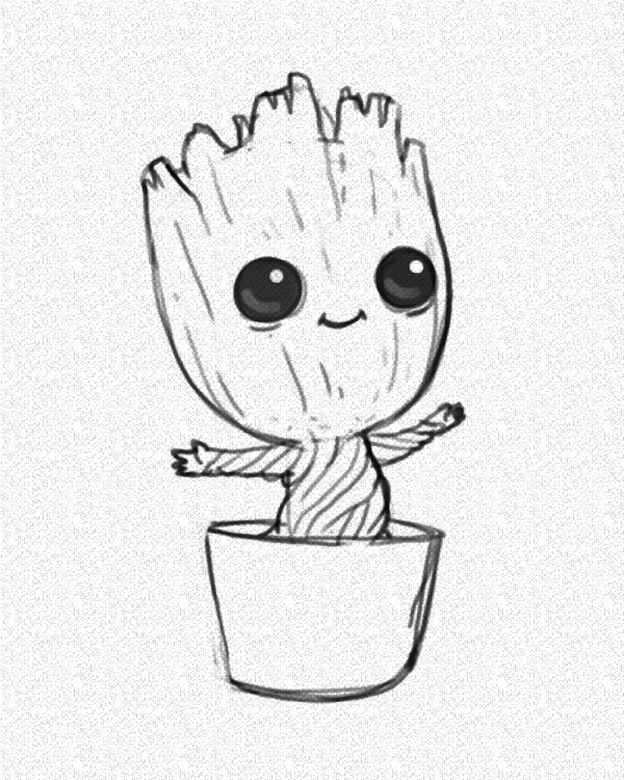 baby groot dancing in a pot, guardians of the galaxy, marvel inspired, easy drawings for kids, black and white pencil sketch