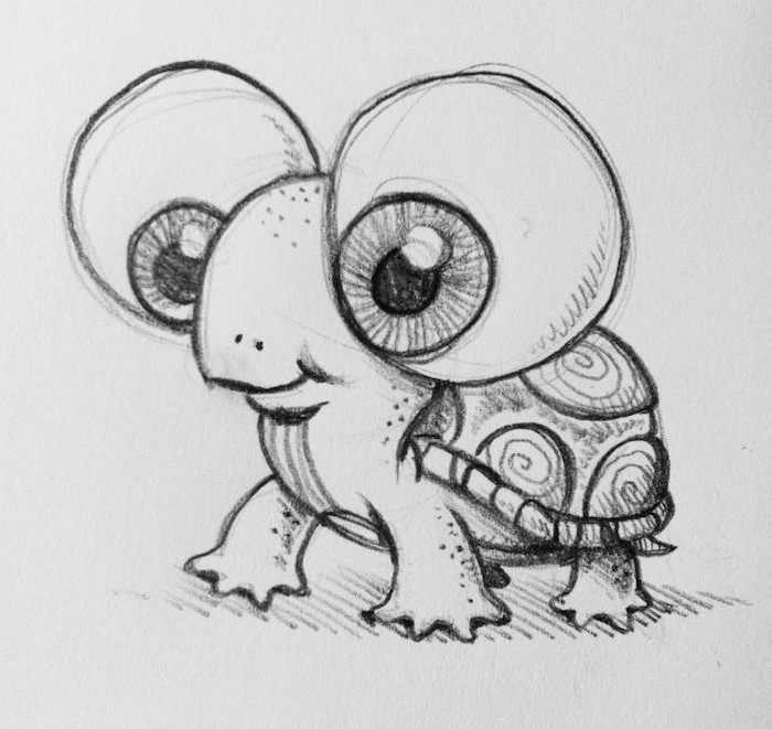 baby turtle with large eyes, black and white pencil sketch, easy pencil drawings, white background