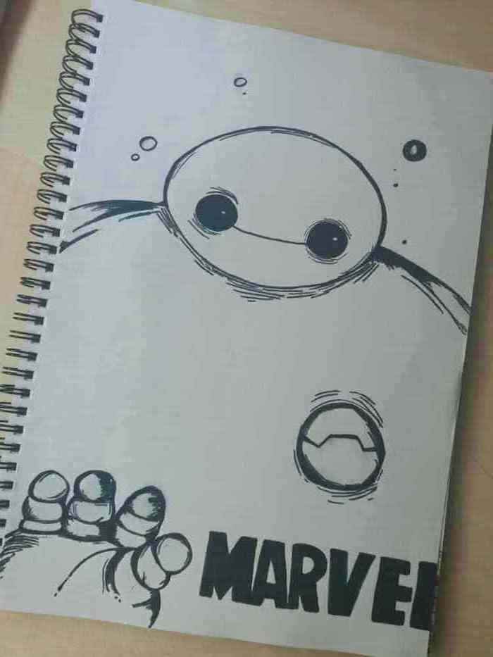 big hero six character, black and white pencil sketch, easy pencil drawings, drawing in a notebook