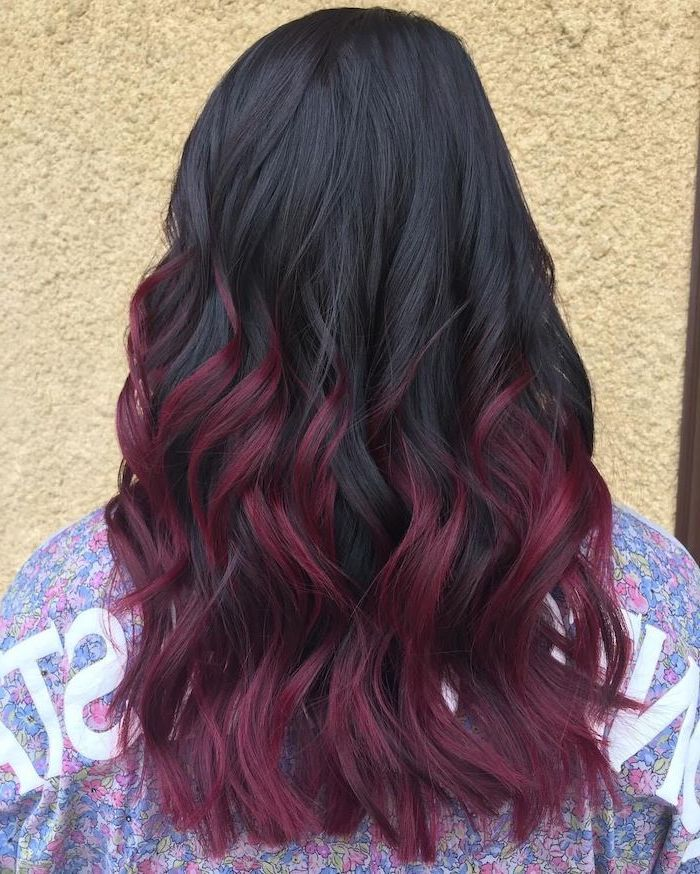 black and violet balayage hair, medium length wavy hair, woman wearing floral blouse, 2020 hair color trends for brunettes