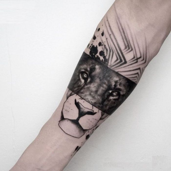 forearm tattoo, half realistic lion head, half contour of a lion head, lion tattoo, white background