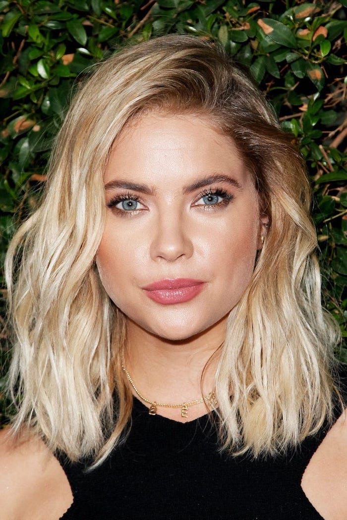 ashley benson wearing black dress, blonde hair with darker roots, hair color ideas for brunettes
