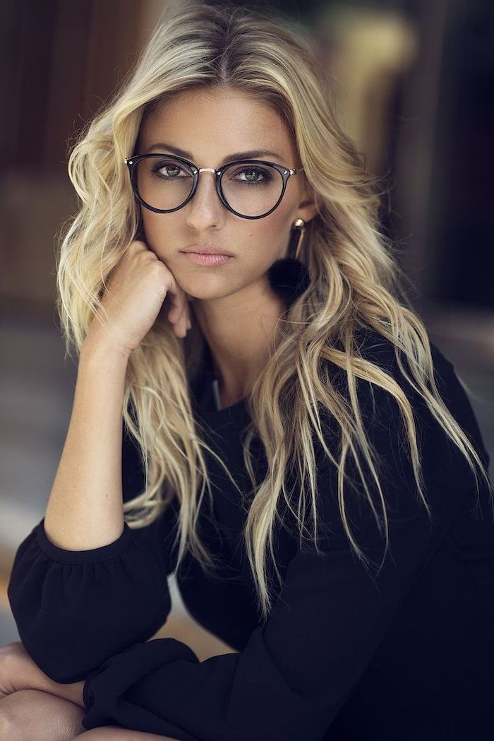 woman with glasses, wearing black dress, hair color ideas for brunettes, long wavy blonde hair with highlights
