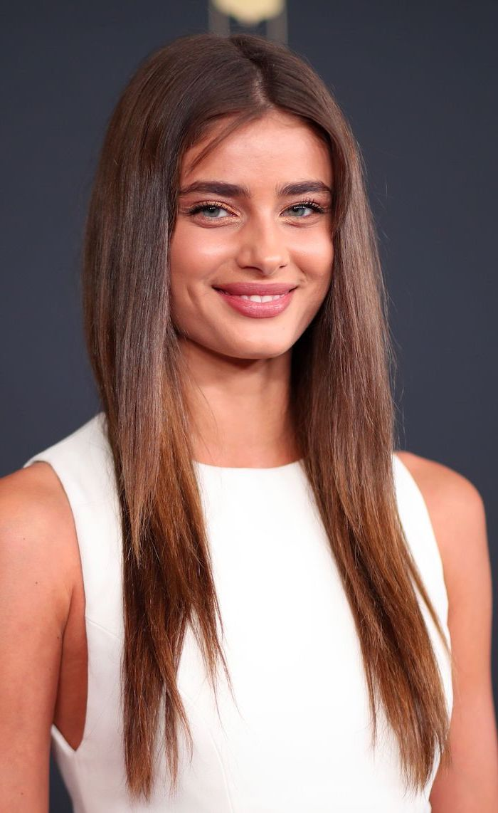 taylor hill victoria's secret angel, hair color ideas for brunettes, wearing white dress, long straight brown hair