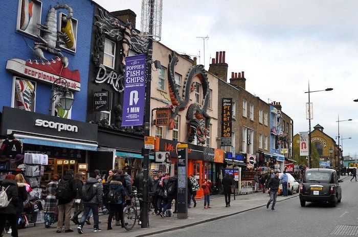 camden high street, people walking up and down the street, benefits of shopping, people shopping on the high street