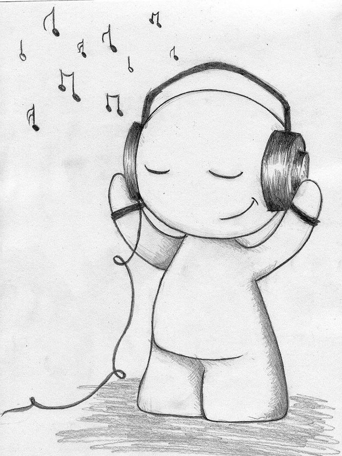 cartoon person listening to music, headphones on the head, cute drawings, black and white pencil sketch