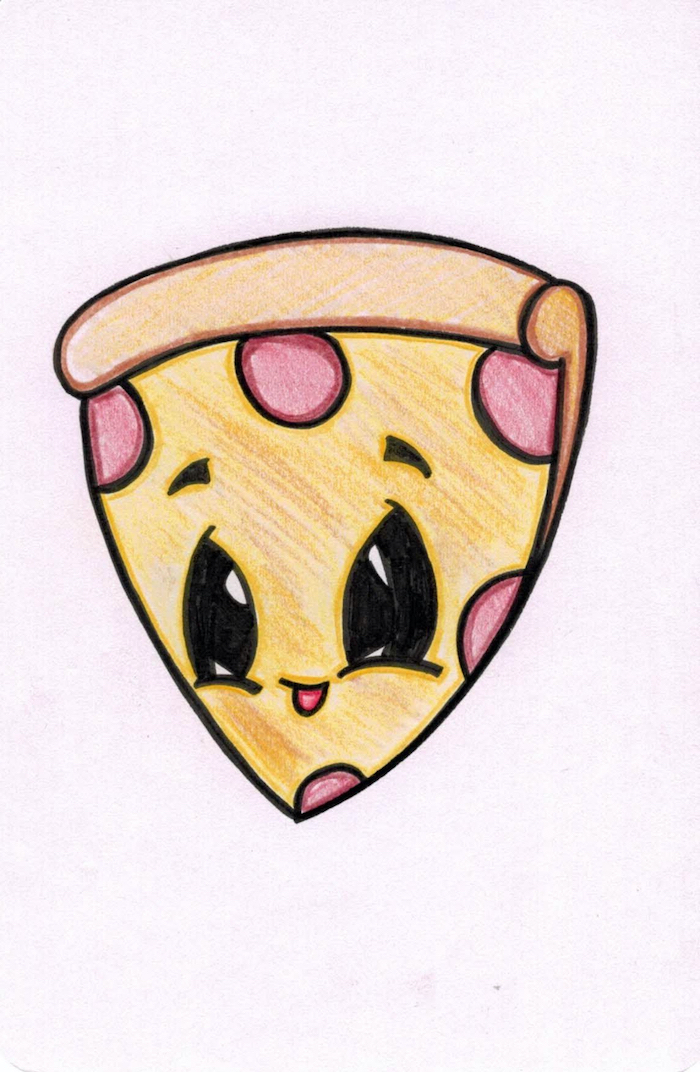 cartoon pizza with eyes, cute drawings, colored drawing on white background, smiling pizza slice