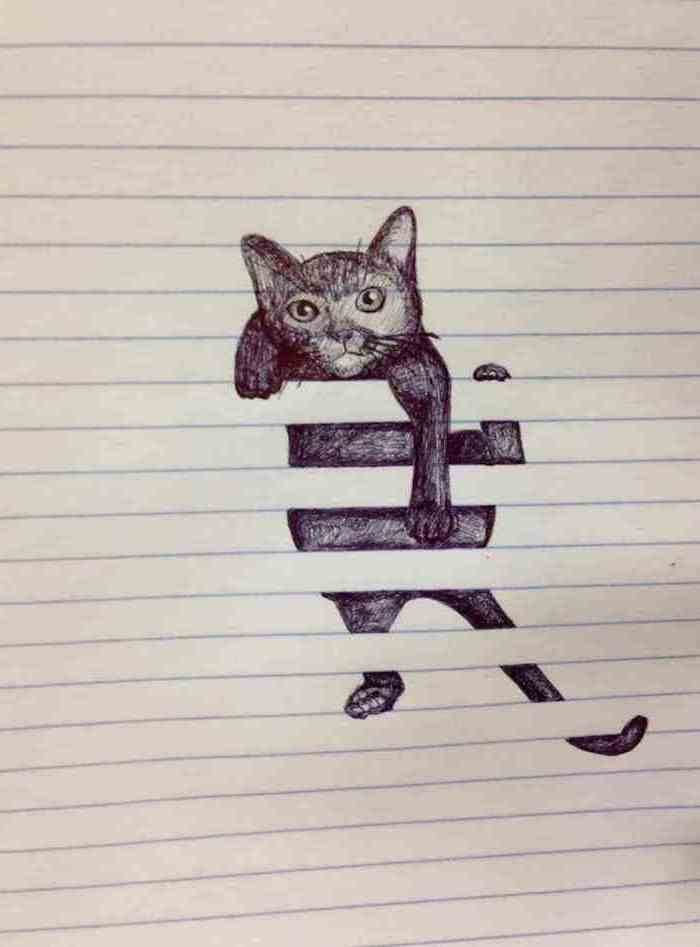 cat climbing, drawn inside a notebook with lines, things to draw when bored, black and white pencil sketch