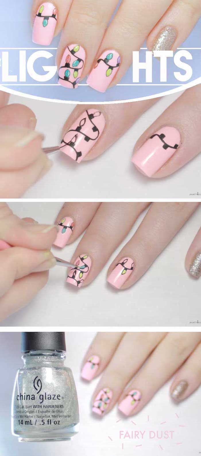 photo collage of step by step diy tutorial, different color nails, christmas lights decorations on each nail, pink nail polish