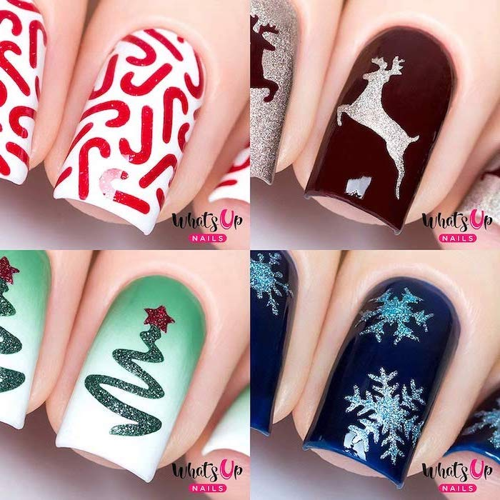 photo collage of four different christmas themed decorations, different color nails, red blue and green nail polish