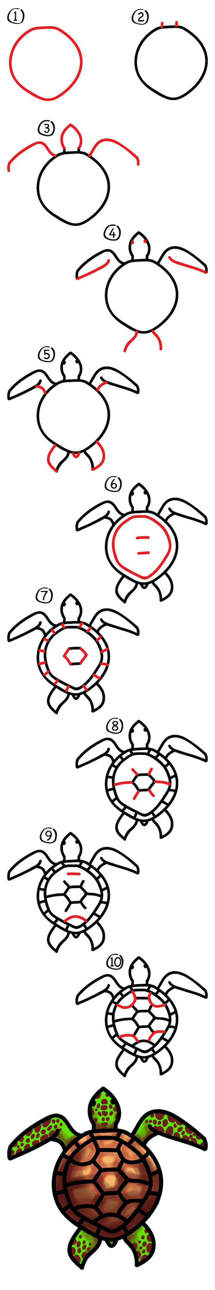 how to draw a turtle, step by step diy tutorial, cute drawings, sketch on white background