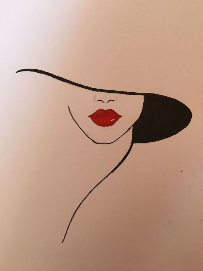 things to draw when bored, female silhouette with red lips, large hat, colored drawing on white background