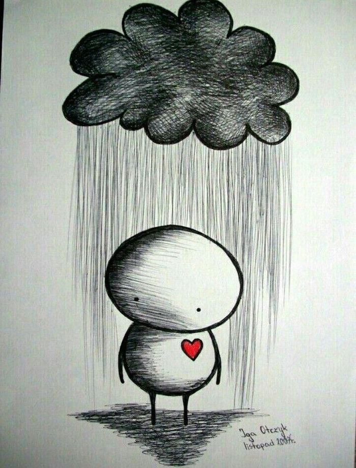 cartoon person with red heart, standing under a rainy cloud, black and white pencil sketch, things to draw when bored