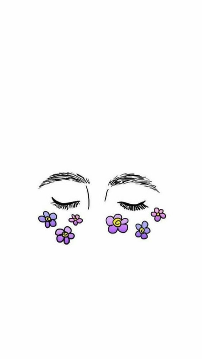 two closed eyes, eyebrows on top, purple flowers underneath, sketch on white background, cool things to draw
