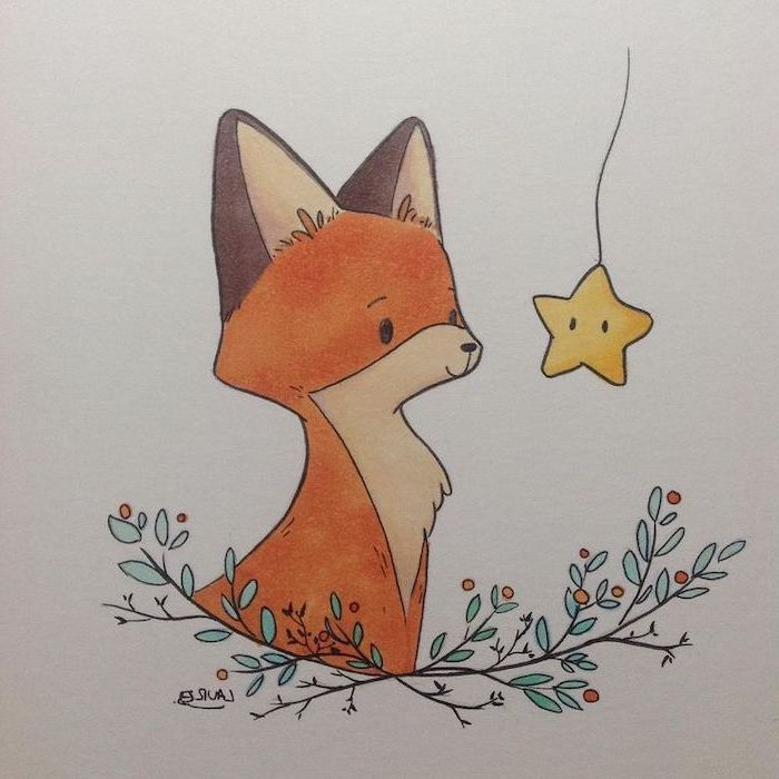 baby fox, looking at a star, tree branches underneath, how to draw step by step, colored drawing on white background