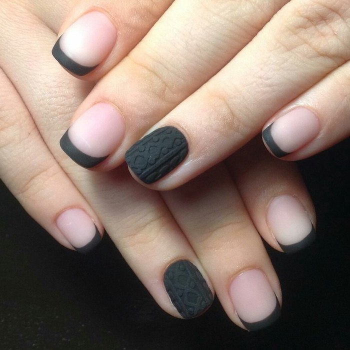 french manicure with dark grey matte nail polish, nail color ideas, decoration on the ring finger