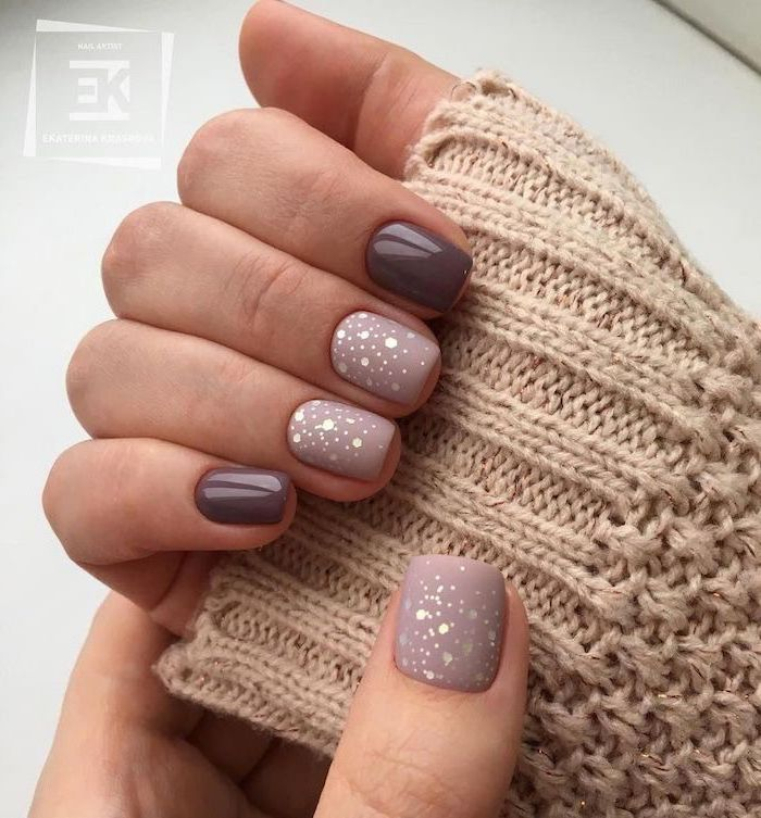 dark grey purple nail polish, nail color ideas, glitter decorations and matte nail polish on the middle index and thumb