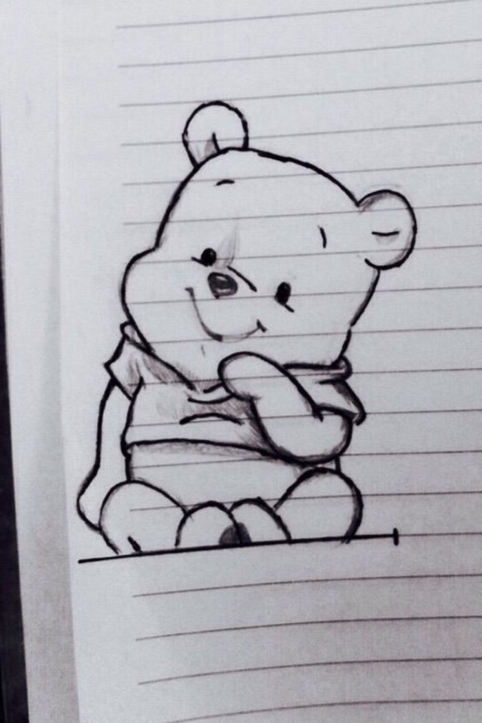winnie the pooh, black and white pencil sketch, how to draw step by step, drawing in a notebook