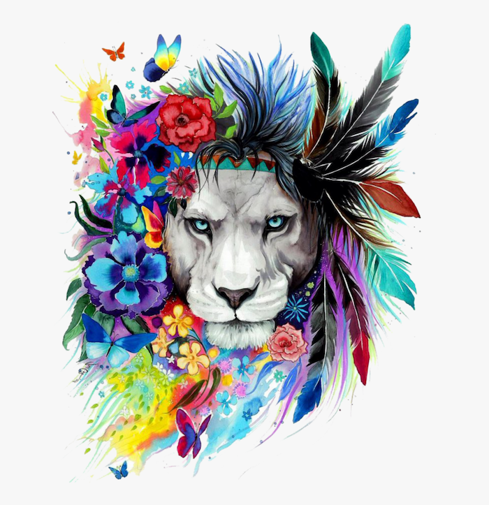 drawing of a lioness head, surrounded by flowers and feathers, lion tattoo, watercolor painting