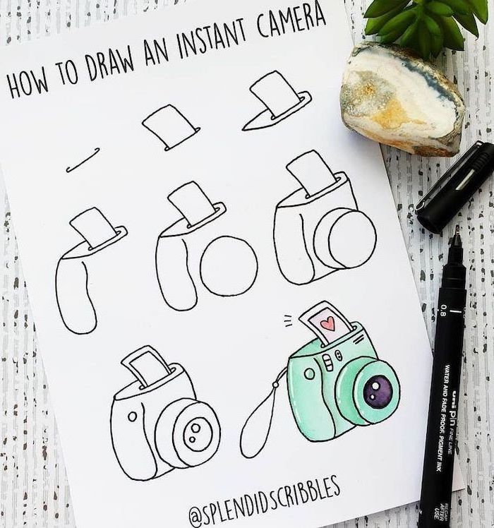 how to draw an instant camera, step by step diy tutorial, how to draw step by step, drawing in white notebook