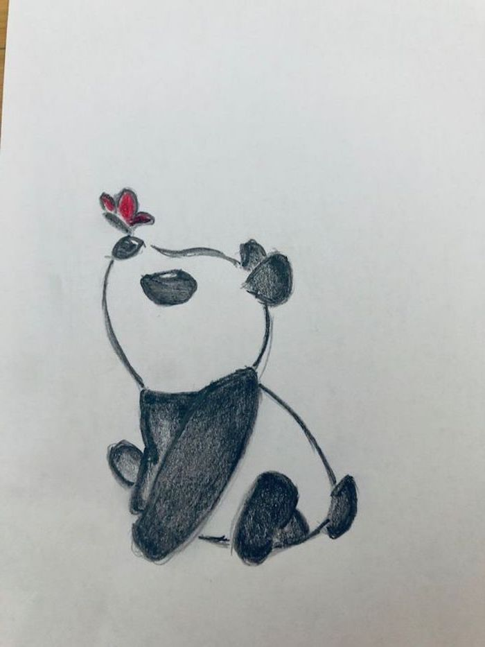 baby panda, red butterfly landing on its nose, cool things to draw, colored drawing on white background