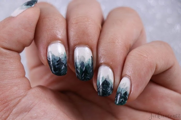 faded foggy forest, white to black gradient nail polish, ombre acrylic nails, medium length squoval nails