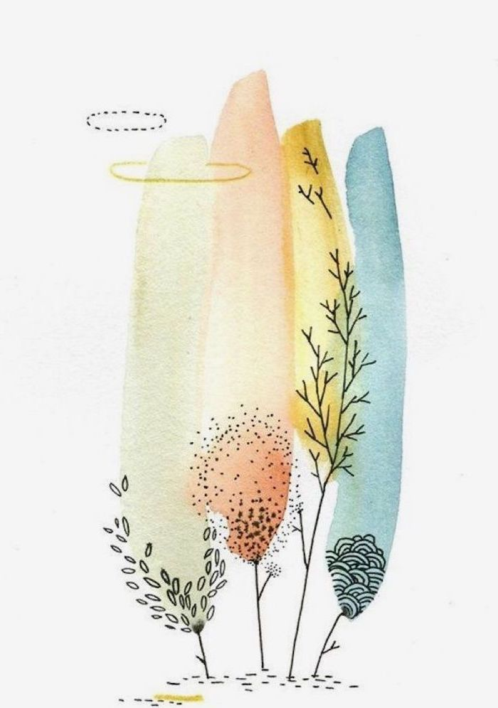 watercolor drawing, cute and easy drawings, trees and tree branches in different colors, white background