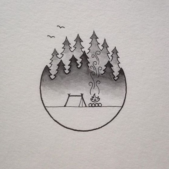 black and white pencil sketch, forest landscape, tent with fire, cute and easy drawings, white background