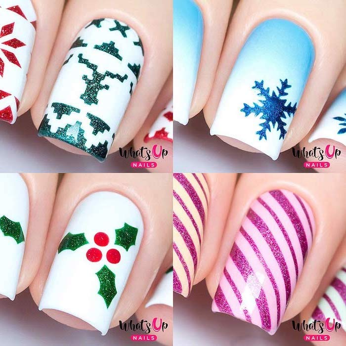 neutral nail colors, photo collage of four different christmas themed nail decorations, snowflakes and mistletoes
