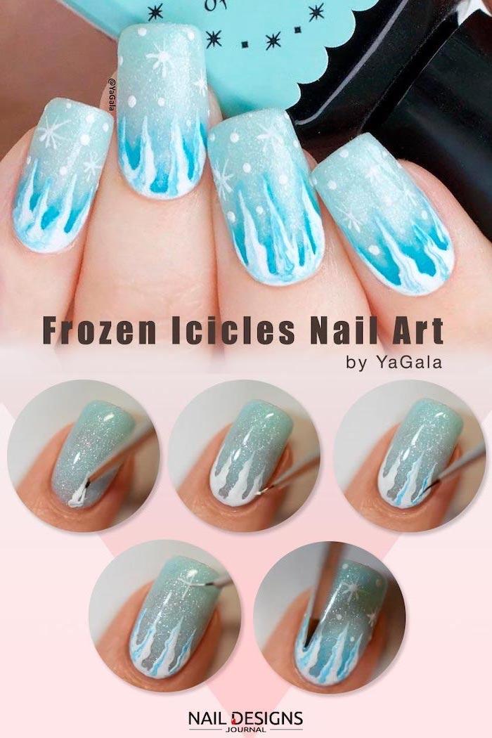 step by step diy tutorial, frozen icicles nail art, neutral nail colors, blue glitter nail polish