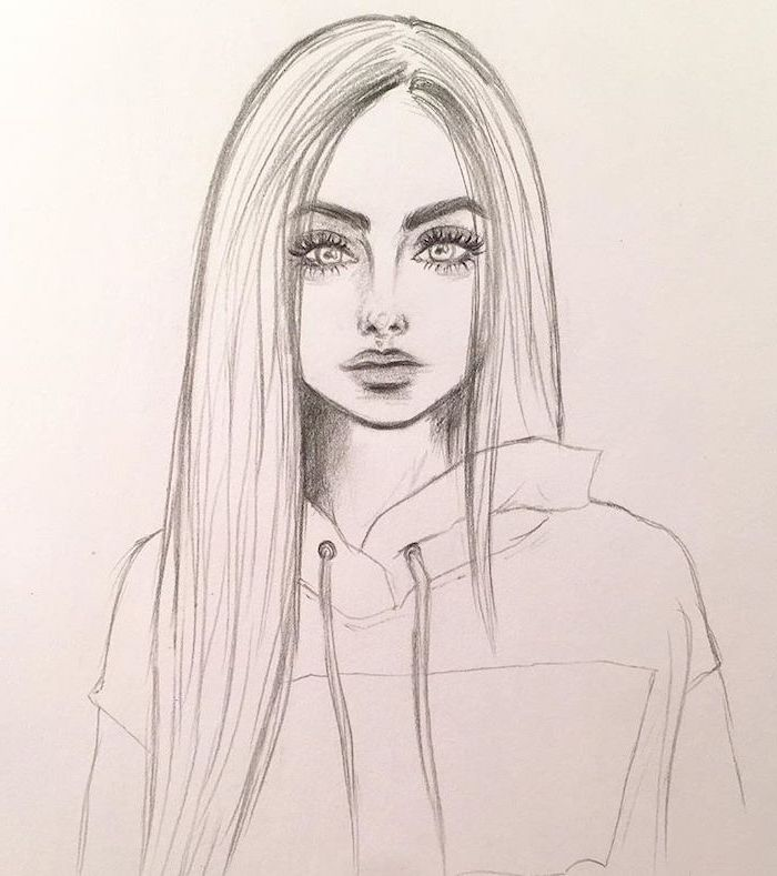 girl with straight long hair, wearing a hoodie, cute things to draw, black and white pencil sketch, white background