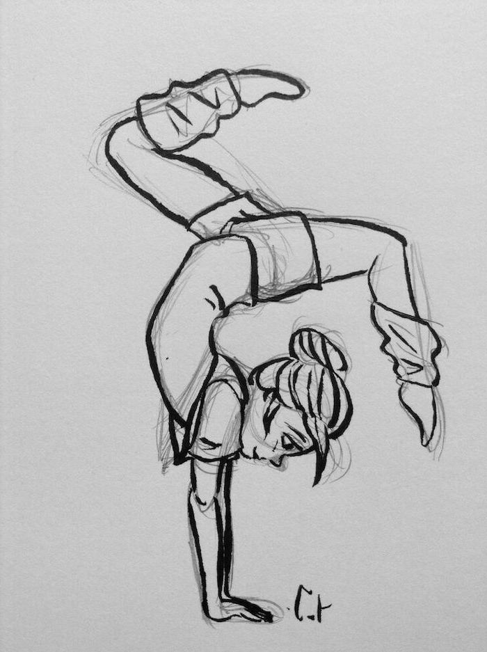girl making acrobatic moves, standing on her hands, cute things to draw, black and white pencil sketch
