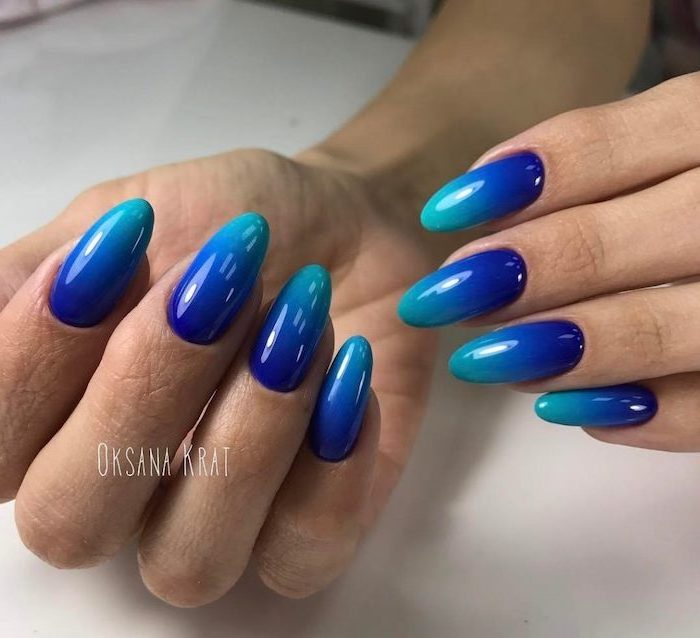 turquoise to dark blue gradient nail polish, pink and white ombre nails, long almond nails