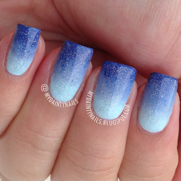 light to dark blue gradient glitter nail polish, short square shaped nails, pink and white ombre nails