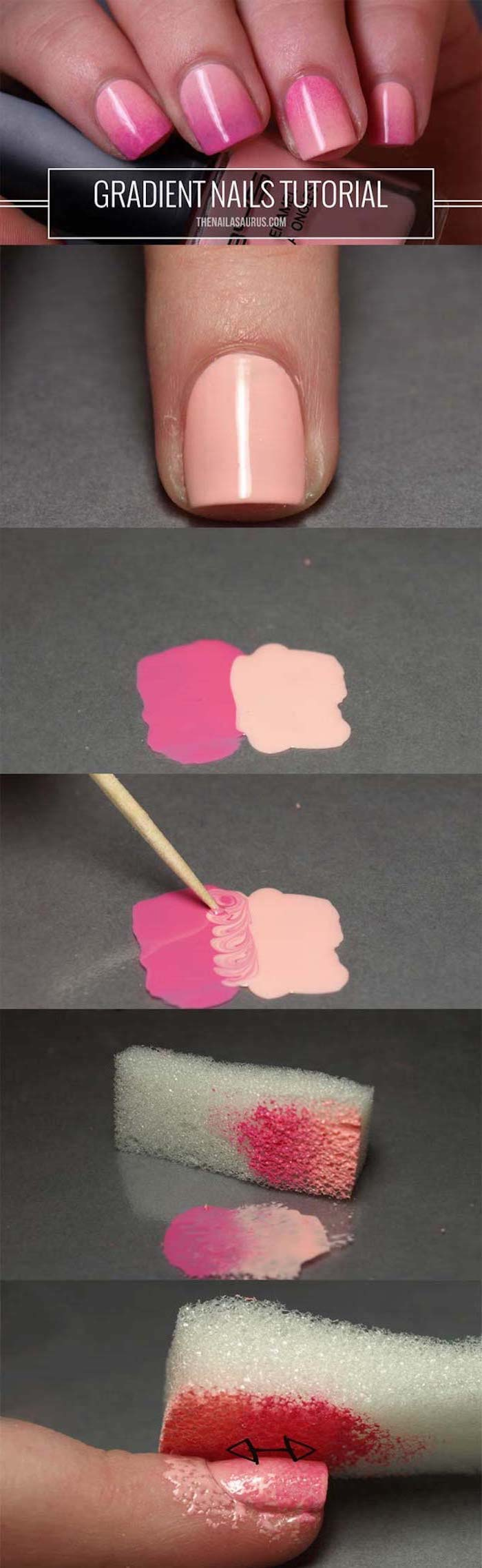 step by step diy tutorial, how to do ombre, light to dark pink gradient nail polish, pink ombre nails, short square nails