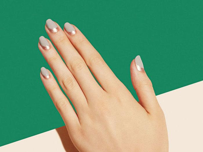 grey matte nail polish, gold metallic lines at the bottom of the nail, pretty nail colors, short squoval nails