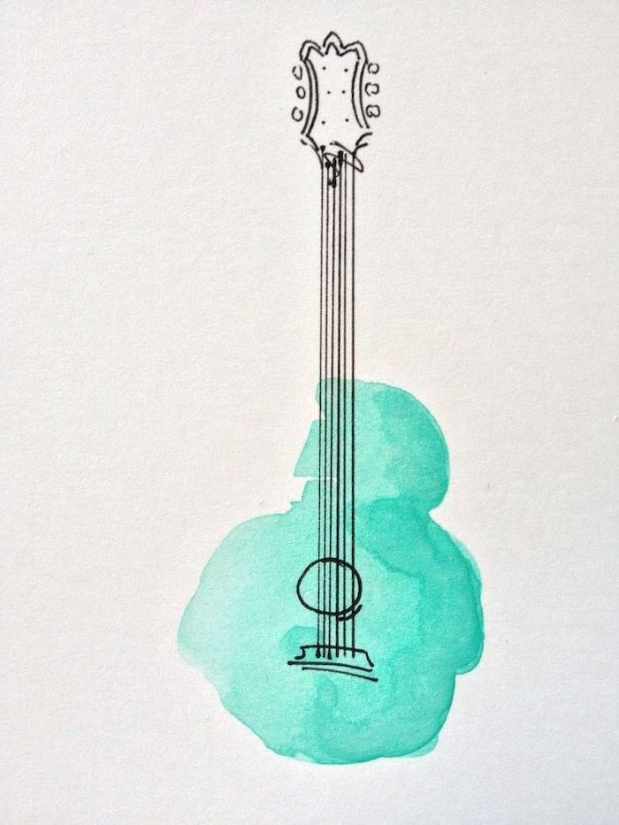 watercolor drawing, cute things to draw, guitar with turquoise watercolor base, white background