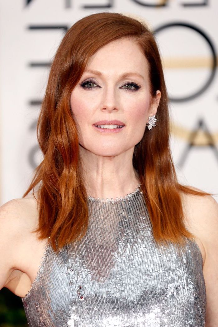 julianne moore wearing silver metallic dress, brunette highlights, natural auburn hair, medium length wavy hair